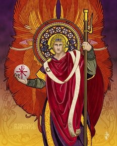 The Archangels oversee and guide Guardian Angels who are with us on earth. The most widely known Archangel Gabriel, Michael, Raphael, and Uriel. Angels Among Us, Angels And Demons, Religious Icons, Religious Art, Seven Archangels, Holy Art, St Raphael, Raphael Angel, Archangel Uriel