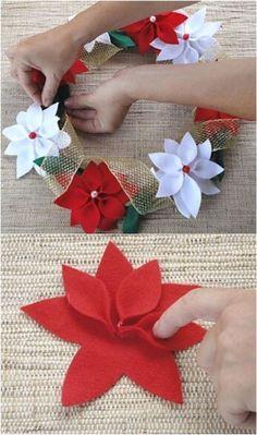 The 12 Best Diy Christmas Penny Hill - Selmin Özden - Christmas Diy Hill Day - Diy Crafts Diy - Diy Crafts - hadido Christmas Projects, Felt Crafts, Holiday Crafts, Diy Crafts, Burlap Crafts, Christmas Ideas, Holiday Decor, Felt Flowers, Fabric Flowers
