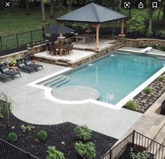 Backyard Pool Designs, Small Backyard Pools, Outdoor Pool, Backyard Pergola, Living Pool, Swimming Pool Landscaping, Pool Remodel, Dream Pools, Cool Pools