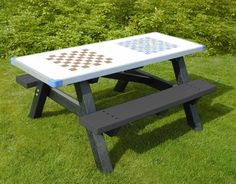 Plaswood Chess/Snakes & Ladder bench. Smart Note, Outdoor Tables, Outdoor Decor, Cool Paintings, Picnic Table, Outdoor Furniture, Interior, Snakes, Ladder