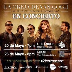LA OREJA DE VAN GOGH en #Orlando, 20 de mayo http://livemu.sc/2lcUJbh y #Miami 26 de Mayo http://livemu.sc/2kLCWHe