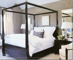 Suzie: chic black & taupe bedroom  Love the black wood canopy bed with crisp white bedding!  ...