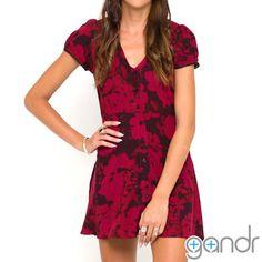 537960c8df Motel Patience Babydoll Dress in Tonal Floral Maroon
