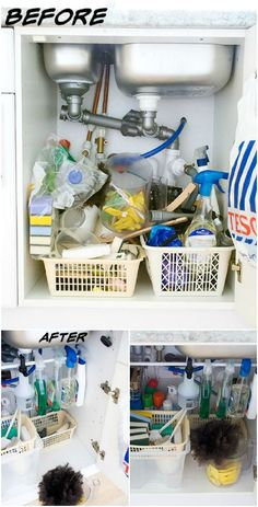 DIY Under Sink Cleaning Supply Organization - DIY Space Saving Hacks to Organize Your Kitchen Clutter Organization, Bathroom Organisation, Kitchen Organization, Kitchen Storage, Organizing, Cleaning Supply Storage, Sink Organizer, Under Sink, Getting Organized