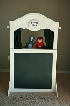 This Old Chair: puppet show Puppet Show Stage, Diy For Kids, Crafts For Kids, Old Bookshelves, Bookcase, Toy Rooms, Hand Puppets, Diy Toys, Play Houses