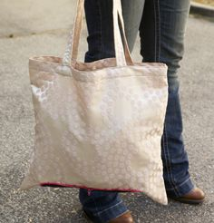 Pink Polka Dot Satin Zip Up Shopping Tote by WellnessByHelen, $28.00