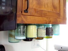jars on the on the cabinet