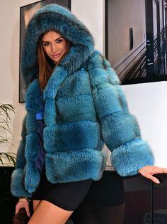 Ocean Blue Royal Saga FOX FUR Jacket Like Coat Silver Sable Mink Chinchilla Lynx | eBay