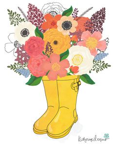 April showers bring May flowers, and these rain boots offer an overflowing bouquet of spring blooms. An original illustration created both digitally and with gouache, this is part of a series of three spring prints. This giclee fine art print is printed on Somerset Velvet fine art paper using archival inks.  * The print is 8x10 inches with a one inch border on all sides for framing.  * Prints are signed and dated on the back by yours truly.  * Watermark does not appear on final print.  ©…