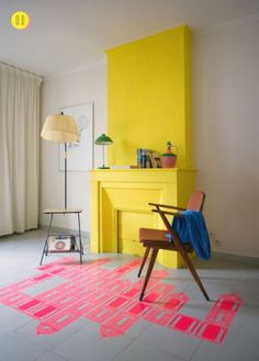 Just did this in our living room. BRIGHT! Yellow mantel | At Home in Love