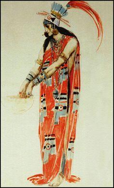 Charles Ricketts — Costume design for Montezuma — ca 1920 watercolor