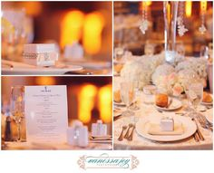 Cream and ivory wedding reception table scapes come together perfectly with favors, floral centerpieces, Chargers and menus. The Palace NJ wedding photos by Vanessa Joy New Jersey wedding photographer
