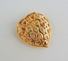Vintage Heart Scarf Ring, Celebrity Scarf Loop, Valentines Day Scarf Pin, Gold Tone Hearts Scarf Clip, Womens Accessories, Estate Jewelry by ninthstreetvintage on Etsy