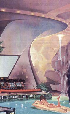 Mid-century Future - Retro Futurism / Future home - Vintage / Space Age House ) Retro Kunst, Retro Art, Retro Vintage, Vintage Space, Vintage Design, Cyberpunk, Illustrations, Illustration Art, Steampunk Illustration