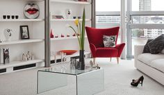 Ossimi by Flock in Laneve Wool with Red Chair