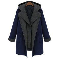 Stylish Hooded Long Sleeve Faux Twinset Spliced Women's Coat #men, #hats, #watches, #belts, #fashion