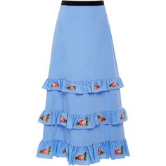 Vivetta Embroidered Remora Tiered Poplin Midi Skirt (19 255 UAH) ❤ liked on Polyvore featuring skirts, blue, high waisted knee length skirt, vivetta, poplin skirt, calf length skirts and high-waist skirt