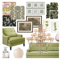 """""""2017 greenery"""" by vaughnroyal ❤ liked on Polyvore featuring interior, interiors, interior design, home, home decor, interior decorating, Tommy Mitchell, Melissa Van Hise, John-Richard and Waterford"""