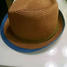 Straw fedora Hat with blue rim nwot Summer Fedora Accessories Hats