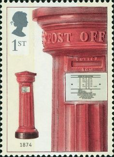 150th Anniversary of the First Pillar Box 1st Class stamp (2002) Horizontal Aperture Box, 1874
