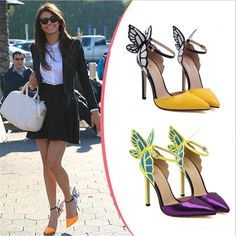 Butterfly Women's Ladies High Heel Pointy Toe Ankle Strap Sandals SHOES SIZE 2-7