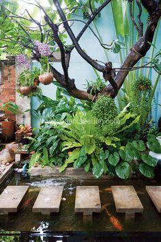 สวนบาหลีเลือกใช้ไม้แขวนช่วยให้สวนมีมิติมากขึ้นอีก