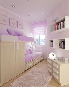 ute Purple Tween Bedroom Design Ideas with Corner Space Bunk Bed Furniture that have Storage Drawer and Small Space Windows complete with the Curtains also Minimalist White Woode Wall Bookcase for Tennage Girls
