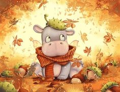 Cool, Fat, and Cuddly – Illustrations for Children by Anne Patzke - Pondly Cute Hippo, Baby Hippo, Autumn Illustration, Children's Book Illustration, Comic Illustrations, Animation, Children's Comics, Kids Story Books, Cute Art