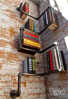 not so sure about this one! but it's creative, using exposed pipes as book shelf...