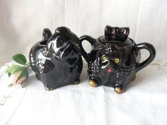 Black Poodle Cream and Sugar Set Redware Pottery by MountainThyme1, $14.99
