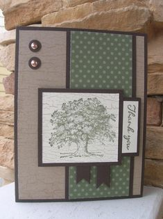 masculine Lovely as a Tree thank you card by calmag - at Splitcoaststampers Masculine Birthday Cards, Masculine Cards, Handmade Thank You Cards, Greeting Cards Handmade, Boy Cards, Cute Cards, Thanks Card, Fall Cards, Card Sketches