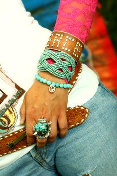 Boho fashion, turquoise ring & beaded cuff, peace leather bracelet jewelry