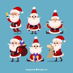 Nice characters of santa claus set Free . Bookmark Ideas, Christmas Clipart, Merry And Bright, Christmas Projects, Vector Free, Doodle, Diy And Crafts, Xmas, Clip Art