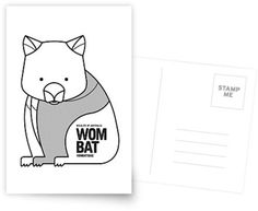 Wombat // Greeting Card, Postcard // This is part of a Wildlife of Australia series which also includes Koala, Kangaroo, Emu and Platypus // Stationery, Greetings, Animal Nursery,  Australian Art Print, Nature Greeting Card, Australian Bird, Australian Animal, Australian Wildlife, Australian Animals Nursery, Animal Retro, Mid-century Animal, Animal Illustration, Australian Art, Australia, Black and White Animal