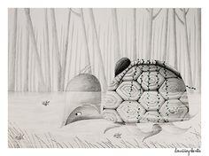 La niña planta. Ilustración realizada para el cuento La Tortuga Gigante de Horacio Quiroga. Lápiz y acuarela.