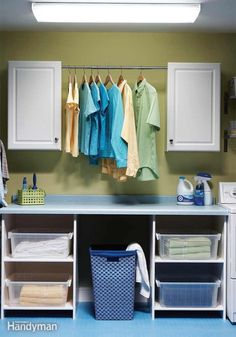 Affordable Home Improvement Ideas: The Family Handyman. I need a rod to hang clothes, but first, I need a bigger laundry room. Next house is a must!! Camping Items, Home Improvement Projects, Budgeting, Garage, Cabinet, Store, Ideas, Clothes, Furniture