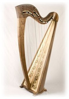 Knotwork painted soundboard harp by Telynau Teifi