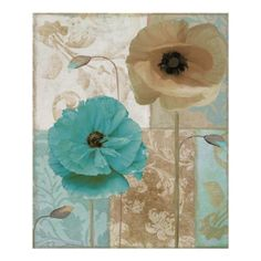 Shabby Cottage Aqua Beach Poppy Art poster prints. Also available as high end home decor accents (including glass and tiles) on colorbakery.com