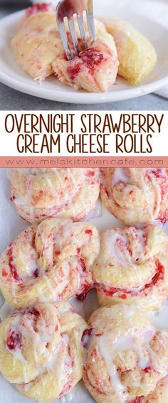 Overnight Strawberry Cream Cheese Rolls ~ these glorious overnight strawberry cream cheese sweet rolls are amazing because they can be made ahead of time and baked fresh when you want them! Think Food, Love Food, Baking Recipes, Dessert Recipes, Mini Desserts, Sweets Recipe, Yummy Recipes, Recipe Tasty, Baking Desserts