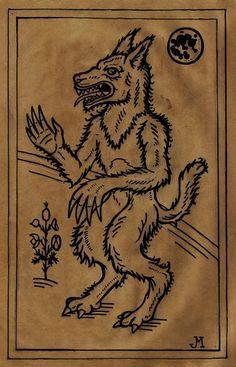 Werewolf Woodcut by JasonMcKittrick.deviantart.com on @DeviantArt