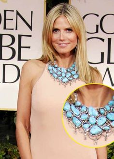 Heidi Klum at the Golden Globes rocks some gorgeous statement turquoise