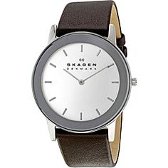 @Overstock - Add this men's stainless-steel watch by Skagen to your accessories collection. Featuring a durable leather strap and polished silver markers, this classy watch is suitable for everyday wear and includes a round, stainless-steel case for easy storage.http://www.overstock.com/Jewelry-Watches/Skagen-Mens-Stainless-Steel-Leather-Strap-Watch/6593845/product.html?CID=214117 $73.99