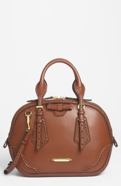 Burberry Brown Orchard Small Brogued Leather Satchel