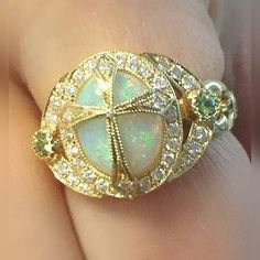 @ericacourtneyjewels.  This is a #dropdeadgorgeous #classic ✨✨ Our #beautiful Cross Ring in Opal ✨