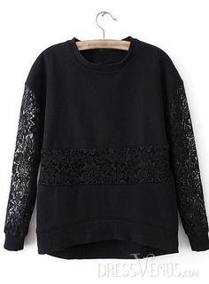 US$20.99 Splendid Split Joint Round Neckline Lace All-matched T-Shirt. #T-Shirts #Lace #Round #Splendid