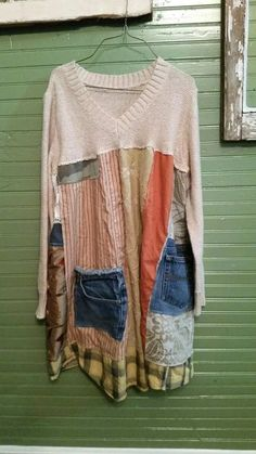 Funky Dresses, Funky Outfits, Eco Clothing, Upcycled Clothing, Ropa Upcycling, Upcycling Ideas, Vetement Hippie Chic, Diy Summer Clothes, Diy Clothes Refashion