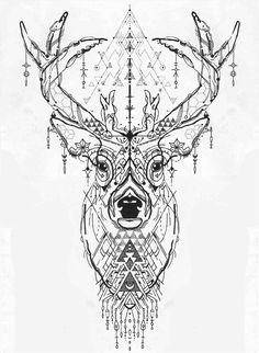 Deer Head Tattoo Geometric Tattoo Ideas - - tattoo designs ideas männer männer ideen old school quotes sketches Geometric Deer, Geometric Tattoo Design, Geometric Tattoo Animal, Animal Mandala Tattoo, Geometric Tattoos, Deer Head Tattoo, Head Tattoos, Hirsch Tattoo Frau, Aquarell Wolf Tattoo