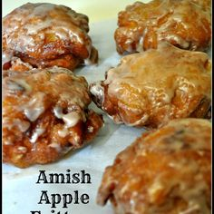 Amish Apple Fritters / The Grateful Girl Cooks! Amish Apple Fritters are delicious crunchy fried doughnuts made easily from scratch with a simple batter containing fresh apple chunks and cinnamon, and covered with a sweet glaze. Amish Apple Fritter Recipe, Amish Donuts Recipe, Apple Fritter Cake, Donut Recipes, Cooking Recipes, Apple Recipes Easy, Cooking Cake, Best Amish Recipes, Simply Recipes