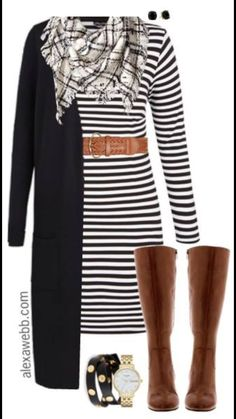 Plus Size Striped Dress Outfit I know It's such a classic look. It would even work with a striped dress. Just add a sweater. Side note: I love this handbag for this outfit. Plus Size Fall, Looks Plus Size, Plus Size Summer, Mode Outfits, Casual Outfits, Fashion Outfits, Womens Fashion, Dress Casual, Fashion Ideas
