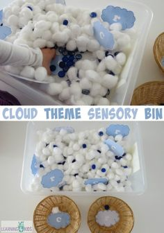 """Cloud theme sensory bin- cotton wool clouds and blue gems for rain by learning 4 kids   The aim of the sensory tub is to search and find the printable cloud letters and sort them into groups """"C is for Cloud"""" and """"R is for Rain"""".  Free printable clouds!!!!"""
